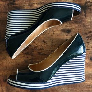 Michael Kors Striped Wedged Sandals   Size 8M